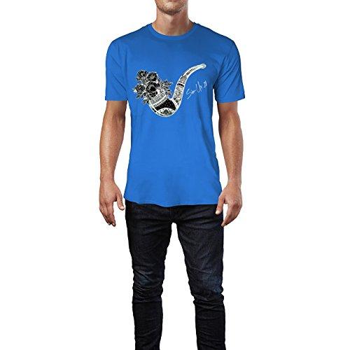 SINUS ART® Elegante Tabakpfeife mit Blumen Herren T-Shirts in Blau Fun Shirt mit tollen Aufdruck
