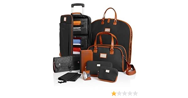 38c9f21cf Amazon.com: Joy Mangano St. Barts Canvas Chic Collection 10-piece Luggage  Set - BLACK: Everything Else