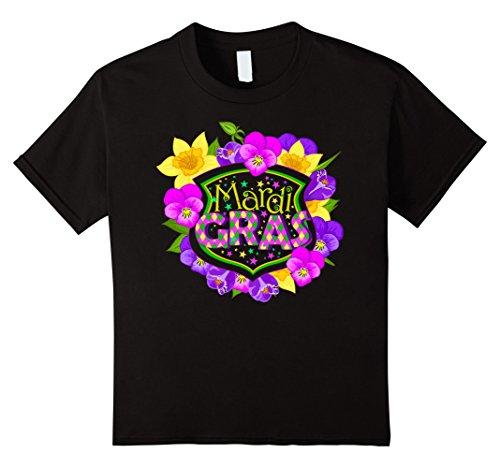 [Kids Mardi Gras - Colorful Mardi Gras Flowers - Gift Idea T-Shirt 8 Black] (Mardi Gras Outfit Ideas)