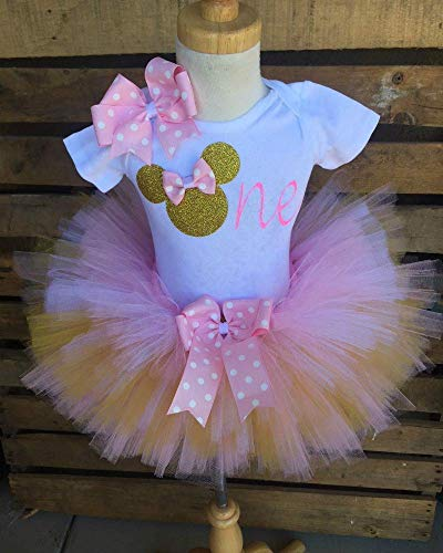 Minnie Mouse Birthday Tutu Outfit Set Dress Shirt First Birthday 1st Baby Light Pink and Gold]()