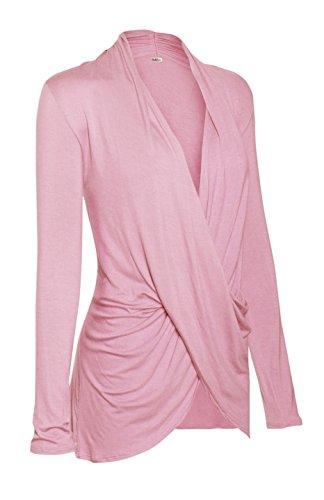 Wrap Blouse (2LUV Women's Long Sleeve Criss Cross Drape Front Top Mauve L)