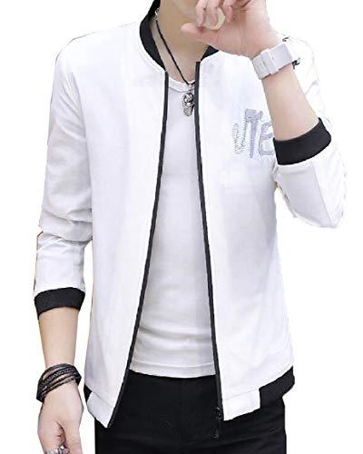 security Men Long Sleeve Slim Fit Bomber Jacket Coat Baseball Jackets White