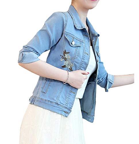 Unastar Womens Long-Sleeve Trim-Fit Stretch Denim Embroidered Coat Jacket Light Blue XS