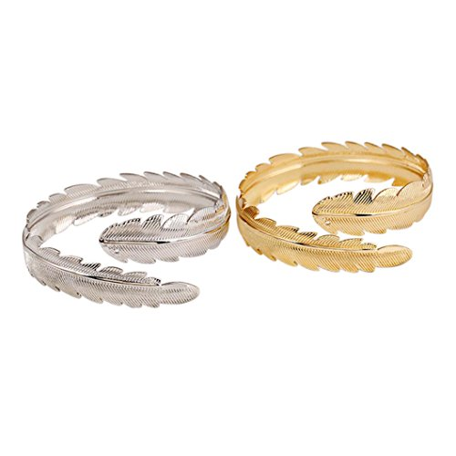 iWenSheng Gold tone Feather Bangle Bracelet