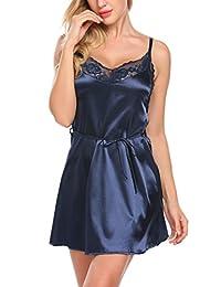 Avidlove Women Stain Nightgown Sleepwear Lace Lingerie Nightie Full Slips