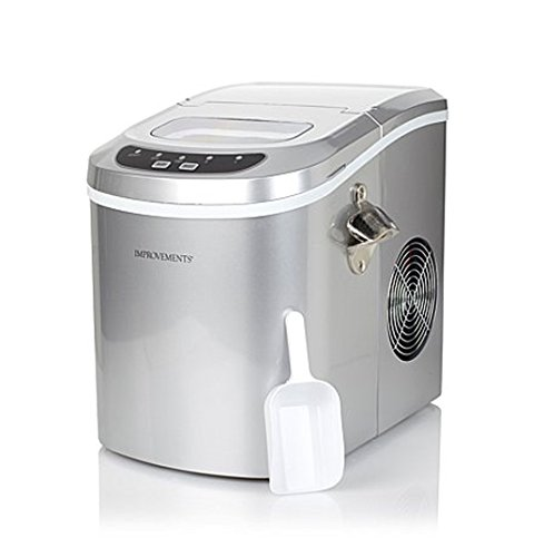 Improvements Portable Ice Maker with Bottle Opener 2 Cube Sizes - Silver