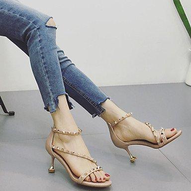 LvYuan Mujer Sandalias Confort PU Verano Confort Tacón Stiletto Negro Almendra 12 cms y Más Black
