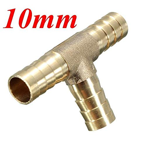 Hitommy 6mm 8mm 10mm 12mm Brass T Piece 3 Way Fuel Hose Joiner Connector for Air Oil Gas - 10mm