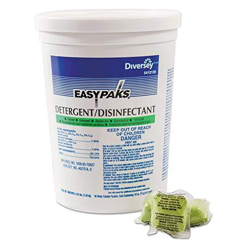 Detergent/Disinfectant, Lemon Scent.5oz, Packet, 90/tub, 2 Tubs/Carton ()