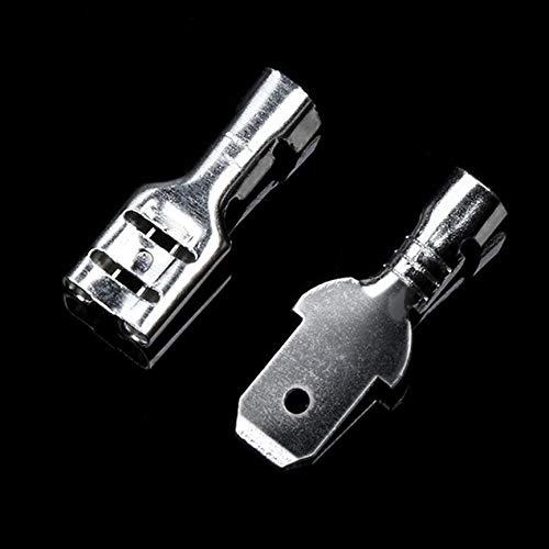 Silber /& transparent VCB 200Pcs 6.3mm Female Male Spade Crimp Terminals Isolierh/ülsenverbinder