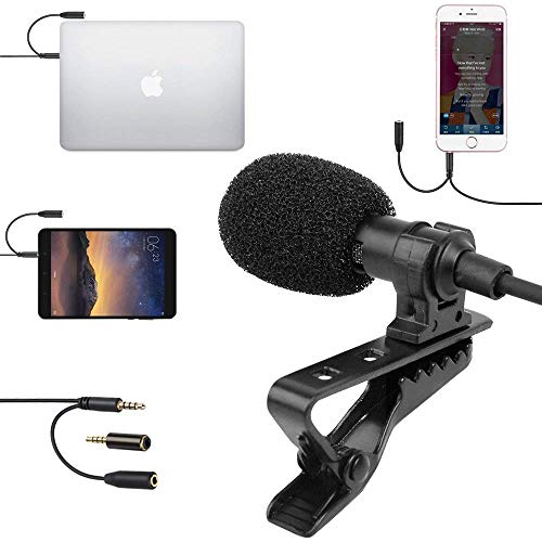 SUPON Lavalier Lapel Microphone Omnidirectional Condenser Mic with Headphone Jack 3.5mm