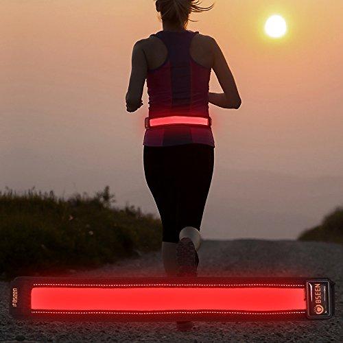 Bseen LED Running Belt - Waist Belt - USB Rechargeable LED Running Waist Belt Safety Light Weight Polyester Sport Belt Adjustable Elastic Band and Buckle for Runner (Red)
