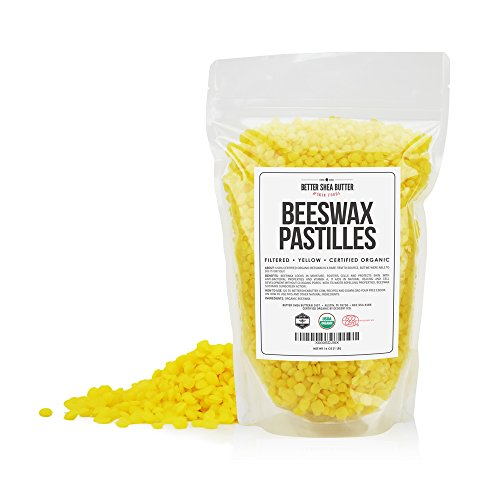 (Better Shea Butter Organic Beeswax Pastilles - Yellow, Filtered Pellets Easy to Measure - Use to Make Candles, Lotions, Salves, Balms and Other Recipes - 16 oz)