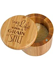"""Totally Bamboo Salt Box Bamboo Storage Box, with Magnetic Swivel Lid,""""Take Life Bamboo Storage Box, with a Grain of Salt"""" Permanently Engraved on Lid"""