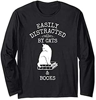 Easily Distracted By Cats & Books - Avid Reader Cat Lover Long Sleeve T-shirt | Size S - 5XL