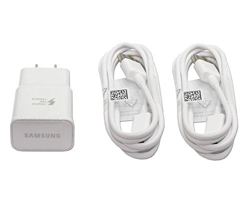 (Genuine OEM Samsung Adaptive Fast Charging White Charger EPTA20JWE EP-TA20JWE with TWO (2) USB Cable ECB-DU4EWE ECBDU4EWE for Galaxy Note4, Note Edge and S6 in Non-Retail Pack)