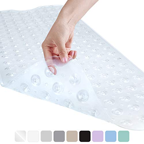 YINENN Bath Tub Shower Mat Non-Slip and Latex Free,Bathtub Mat with Suction Cups,Machine Washable Eco-Friendly Bath Mat with 40X16 inch (Clear)