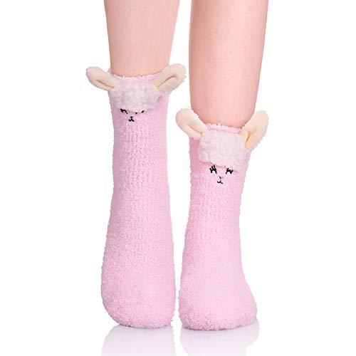 LANLEO Womens Girls Soft Fuzzy 3D Cute Animal Sleeping Winter Warm Slipper Socks 1 Pairs Sheep ()