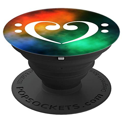 Double Bass Clef Heart Music Bassist Rainbow Nebula - PopSockets Grip and Stand for Phones and Tablets
