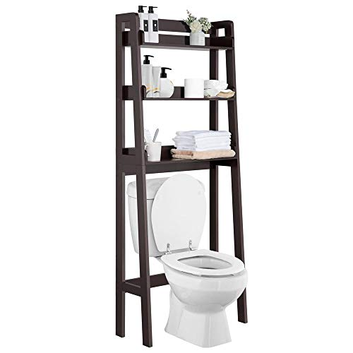 Yaheetech Space-Saver Bathroom Shelf Storage Organizer 3 Shelf Toiletry Rack with Solid Wood Legs, Wooden