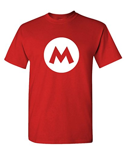 Mario - Video Game Costume Halloween Funny - Mens Cotton T-Shirt, 2XL, Red]()