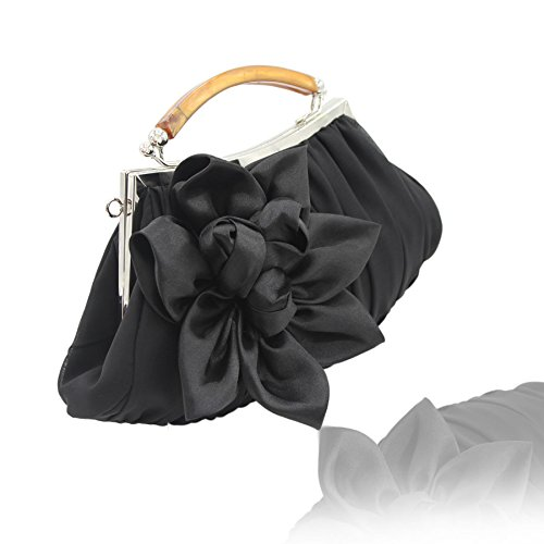Party Sheer Collection Floral evening Black Clutch Out Exterior Chiffon Embellish kingluck EFfwXq4w