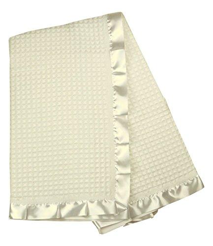 BabyPrem Baby Blanket Shawl Satin Edge Christening Baptism Knitted Cream 110 x 100cm