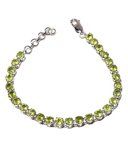 Attractive Stone - Neerupam collection Attractive Green Peridot Real Gemstones Rhodium Plated Sterling Silver Bracelet for Women