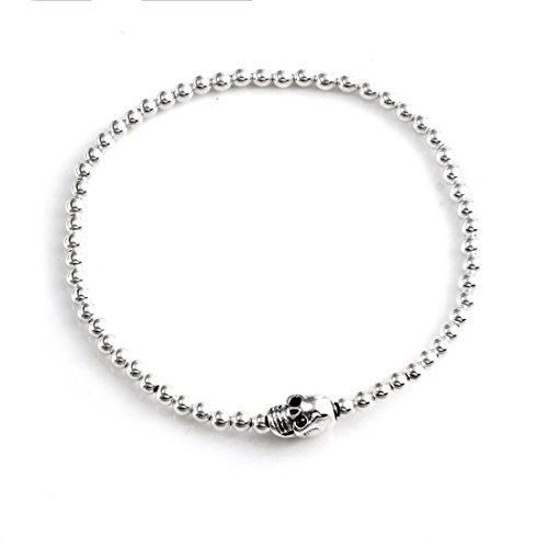 Silverly Women's .925 Sterling Silver Skull Charm Stretchable Adjustable Ball Bracelet