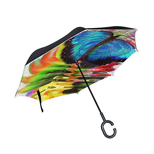 Double Layer Inverted Blue Morphofalter Butterfly Insect Morpho Peleides Umbrellas Reverse Folding Umbrella Windproof Uv Protection Big Straight Umbrella for Car Rain Outdoor with C-Shaped - Umbrella Blue Morpho