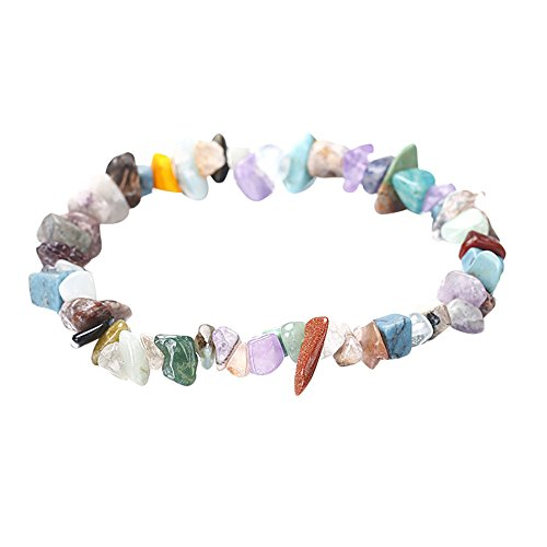 - Sinfu Women Irregular Natural Crystal Crushed Stone Handmade 5-8mm Bracelet Gemstone Chip Beads Stretchy Bracelet Healing Reiki (M)