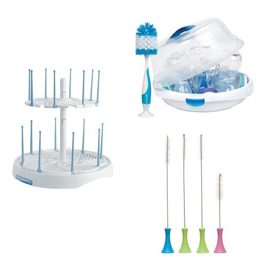 Munchkin Cleaning and Sterilizing Set  with a High Capacity Drying Rack, Cleaning Brush Set and Steam Guard Microwave Sterilizer (Munchkin Steam Sterilizer compare prices)