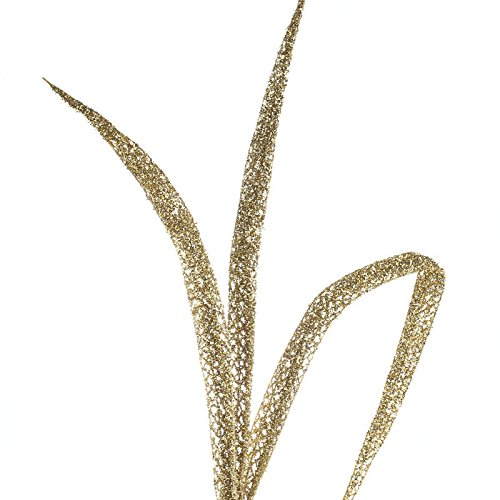 (Factory Direct Craft Group of 6 Gold Glitter and Tinsel Artificial Fern Frond Picks for Embellishing Florals, Centerpieces, and)
