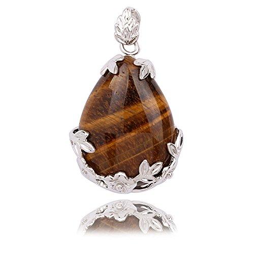 - Beautiful Wire Wrap Silver-Plated Inlay Gemstone Jasper Teardrop-shaped Stone Pendant (Tiger eye)