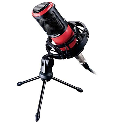 (CE-LXYYD Portable Phone K Song, Professional Wired Condenser Microphone, Suitable for podcasts, Recording Studios, Radio Stations, Stage Performances, with Shock mounts, tripods,Red)