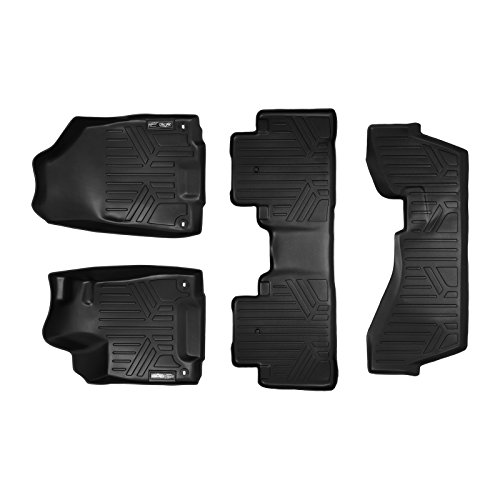 SMARTLINER Floor Mats 3 Row Liner Set Black for 2014-2019 Acura MDX with 2nd Row Bench Seat (No Hybrid Models)
