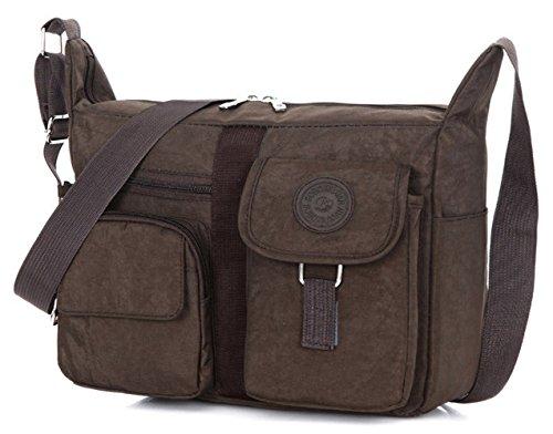 Tibes Travel Messenger Bag Beiläufige Umhängetasche Oxford Stoff Crossbody Tasche Tasche für Damen / Herren Armeegrün Braun