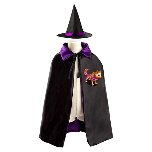 Orange Clever Wolf Witch Cloak Satin Wizard Cape Costume Reversible 27.56 inch Purple Red Boys Girls