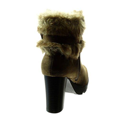 Angkorly - damen Schuhe Stiefeletten - Plateauschuhe - Pelz - Schleife Blockabsatz high heel 9 CM - Khaki
