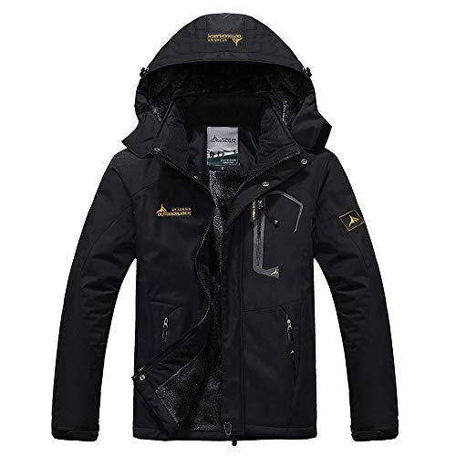 (DaySeventh Men's Waterproof Windproof Rain Snow Jacket Hooded Fleece Ski Coat Black)