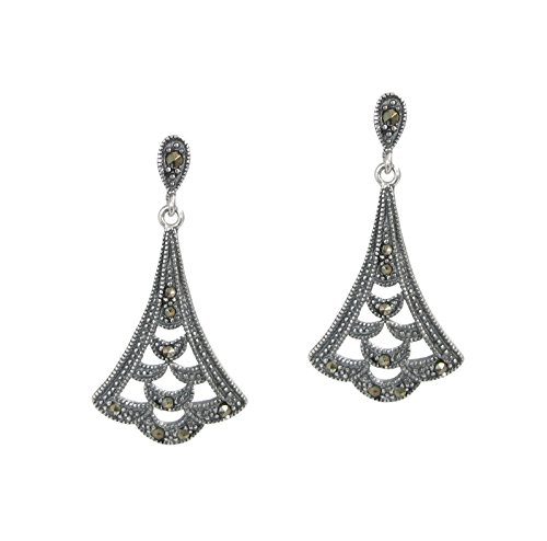 Sterling Silver Flower Leaf Chandelier Dangle Earrings with Marcasit Stud Post (Silver Marcasite Flower Earrings)