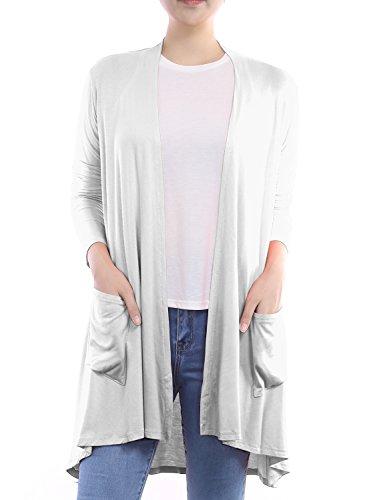 BIADANI Women Long Sleeve Classic Lightweight Front Pockets Cardigan White Large