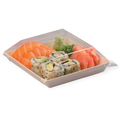 "PackNWood 210SAMBQ1313 ""Samurai'' Square Wooden Dish - 8 oz - 5.2 x 5.2 x .79'' - 100 per case by PacknWood (Image #2)"