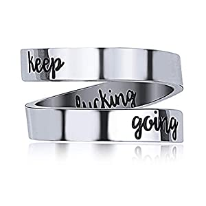 Gleamart Stainless Steel Engraved Ring Inspirational Keep Going Ring Gift