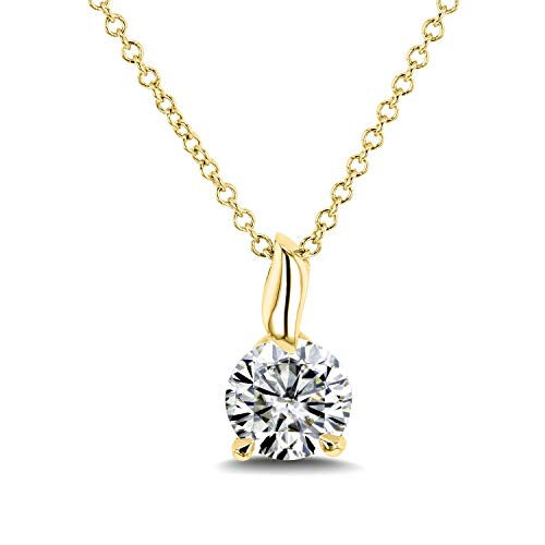 Round Moissanite (H-I) Solitaire Pendant and Chain 4/5 Carat (6mm) in 14k Gold, White