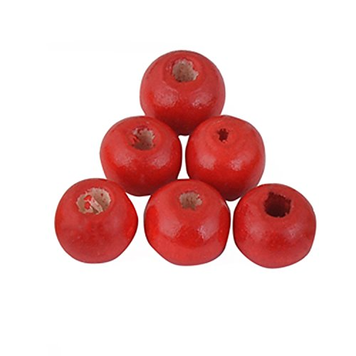 Sala 200 Pieces 10mm Round Wood Beads 15 Colores Wooden Beads for DIY Jewelry Making (7#-red)
