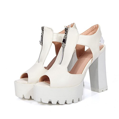 AmoonyFashion Womens PU Solid Zipper Peep Toe High Heels Sandals White WUSkA