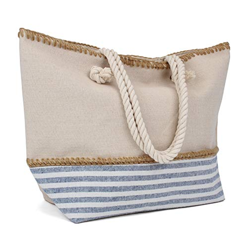 Tote Bag - Beach Bag - Beach Tote - Large Tote Bag with Rope Handles - Rutledge & King Cottage Designer Tote Bag - Polyester Linen Tote