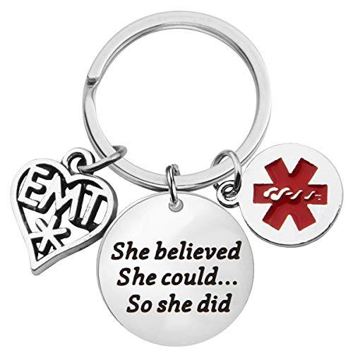 Lywjyb Birdgot EMT Gift EMT Graduation Gifts EMT She Believed She Could So She Did Keychain Emergency Medical Technician Gift Paramedic Gifts (EMT Keychain)