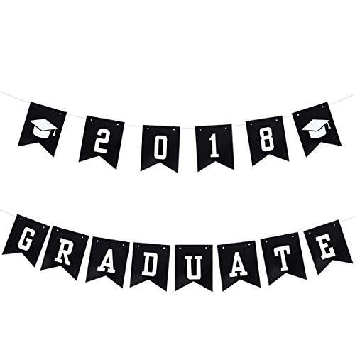 LUOEM Graduation Bunting Banner 2018 Graduation Hat Design Banners Class of 2018 Party Decorations Garland